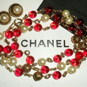 Vintage Chanel Byzantine Red,Pearl,Gold w/CC LOGO